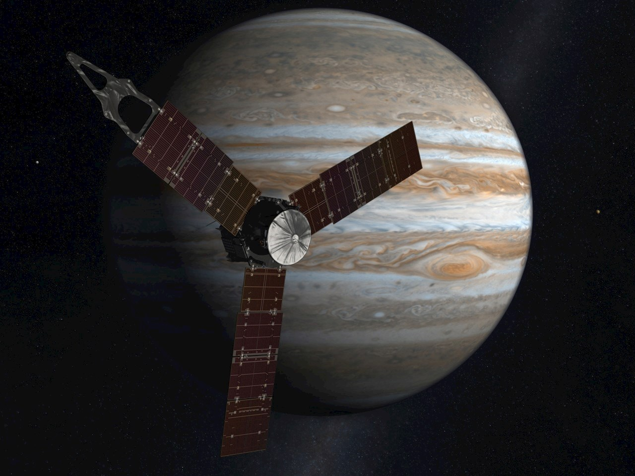 Illustration of the Juno spacecraft mission to Jupiter