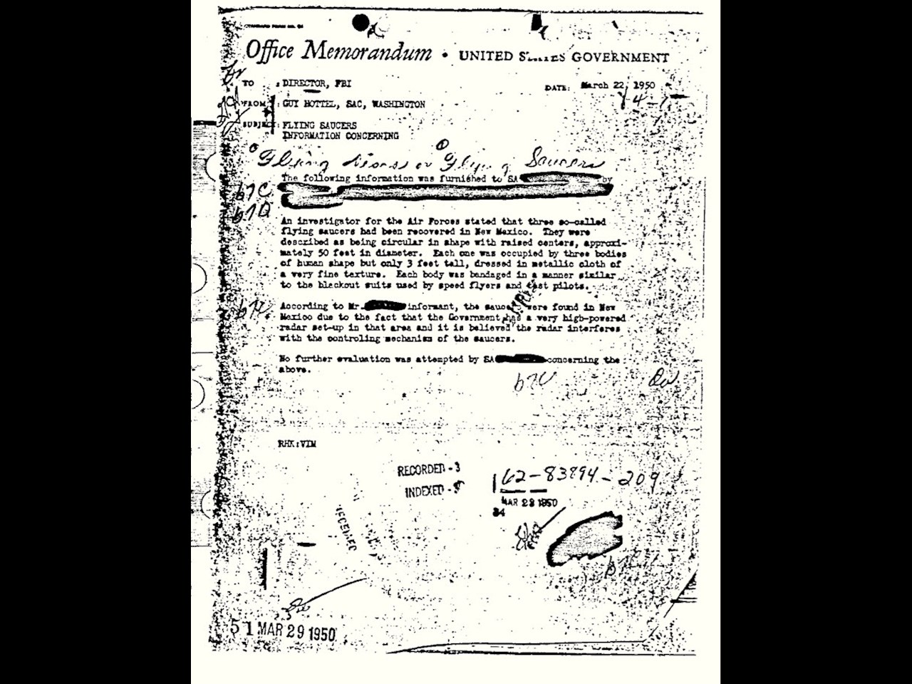 Flying saucer memorandum from March 22, 1950