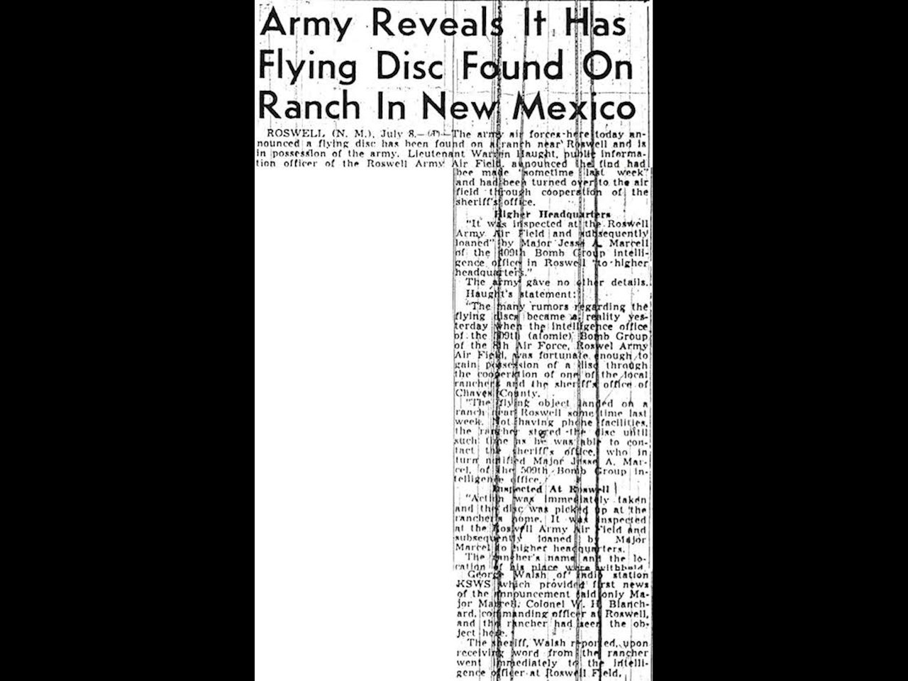 Another article detailing the Roswell Army Air Field statements