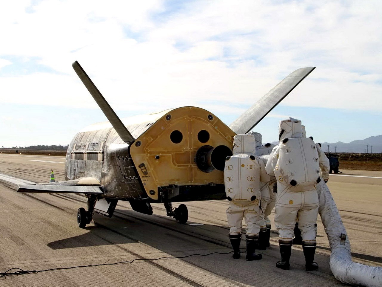 The U.S. Air Force's X-37B spaceplane sits on the runway