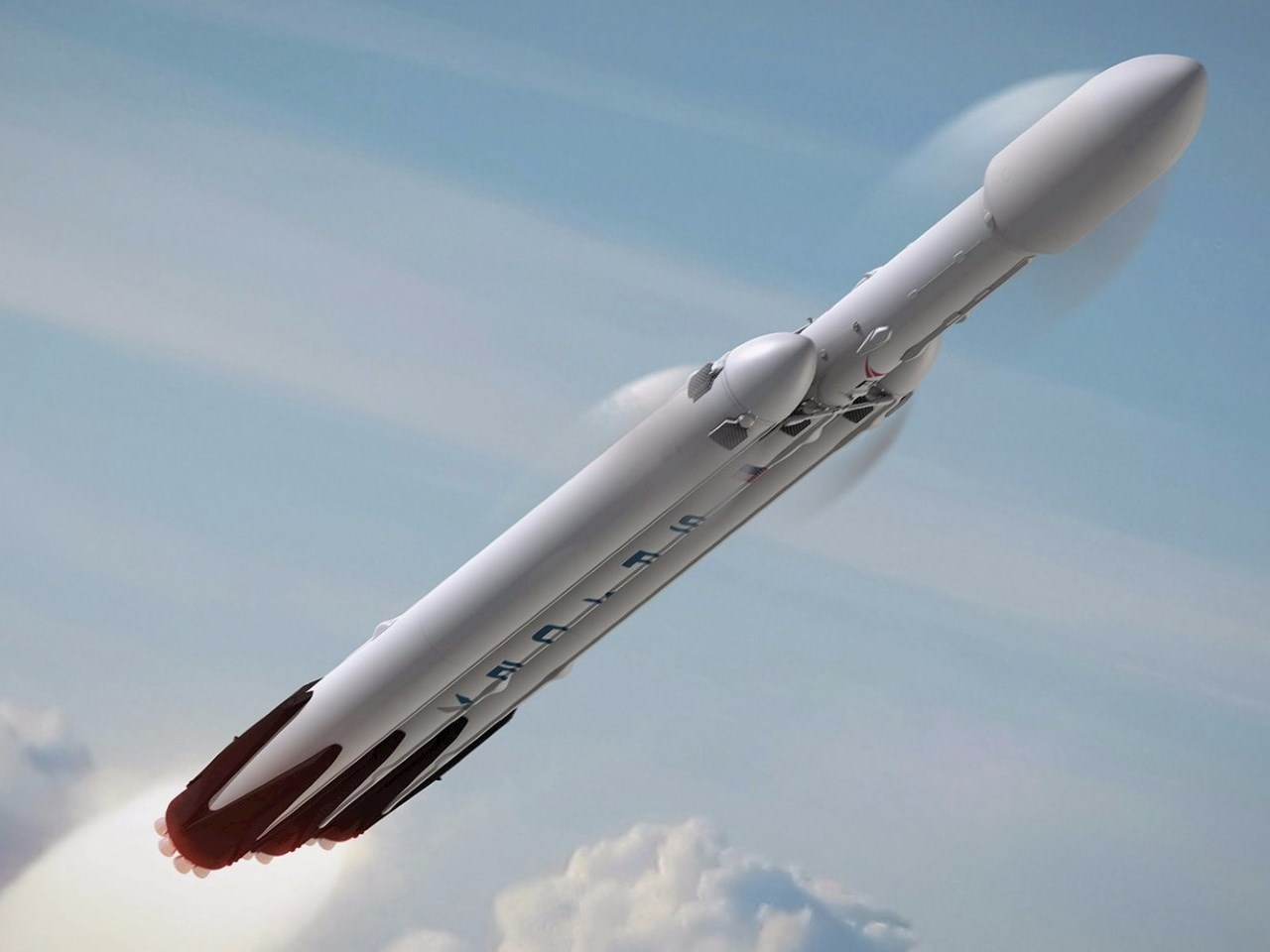 An illustration of the Falcon Heavy rocket