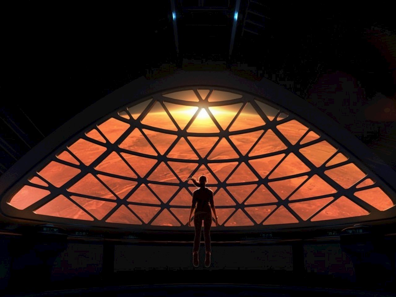 SpaceX's rendering of its Mars spaceship's common area