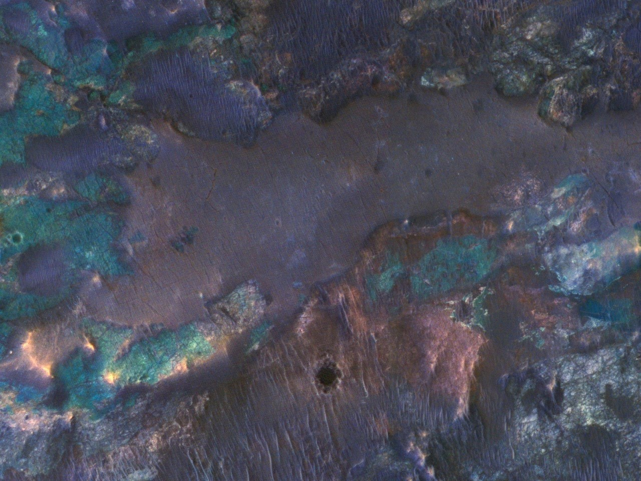 Colorful Impact Ejecta from Hargraves Crater