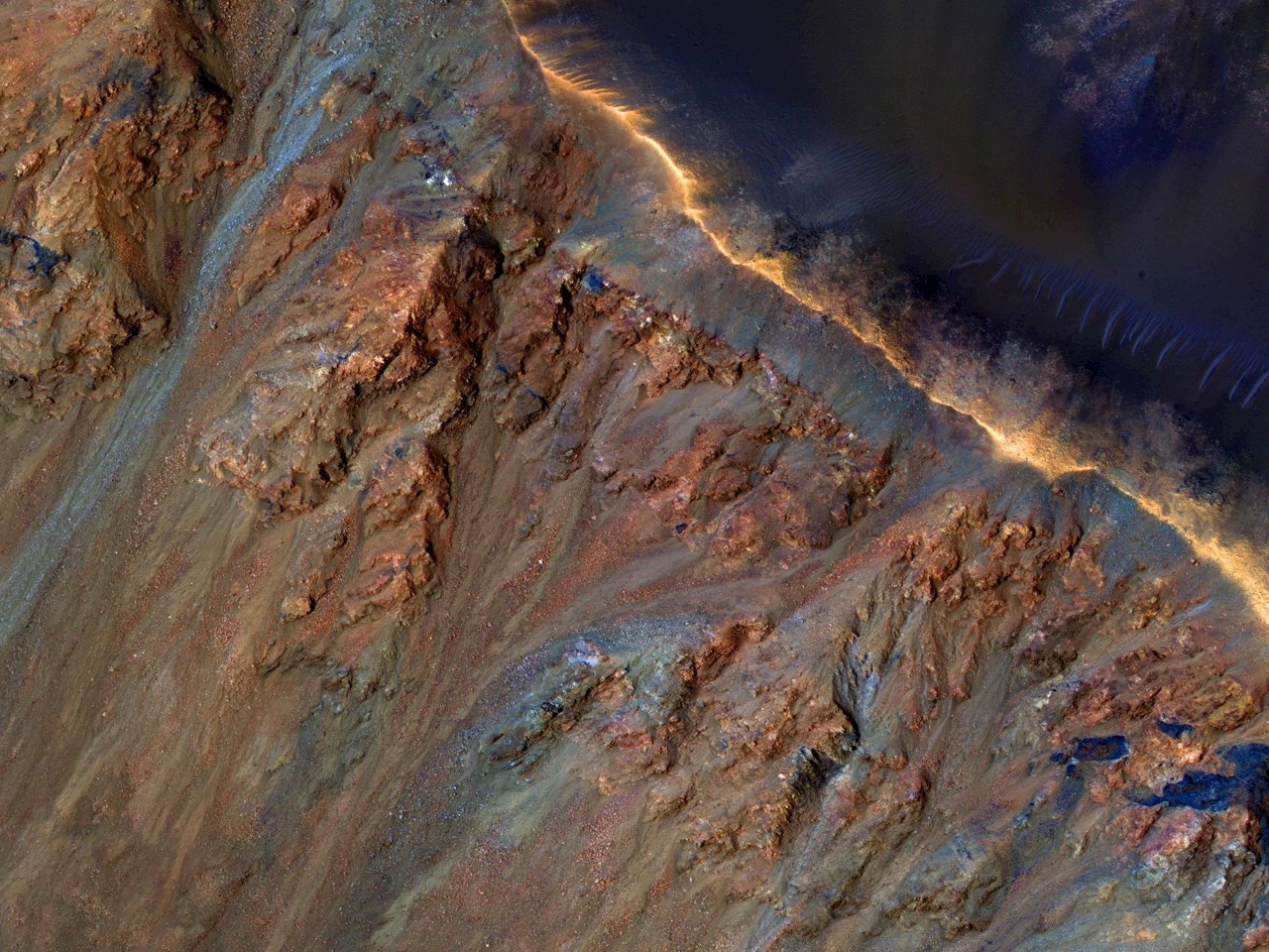 Colorful Equatorial Gullies in Krupac Crater
