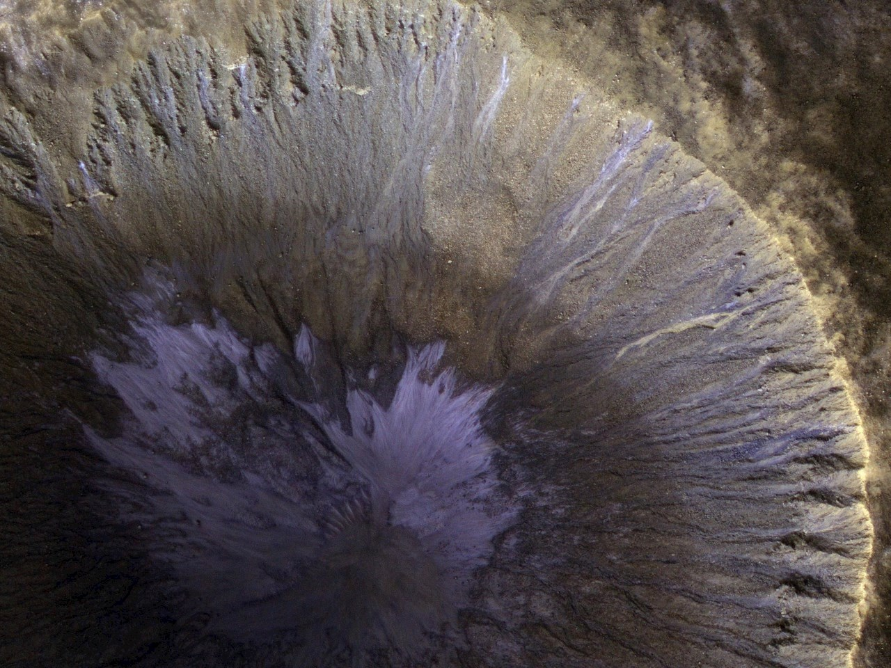 A Winter's View of a Gullied Crater