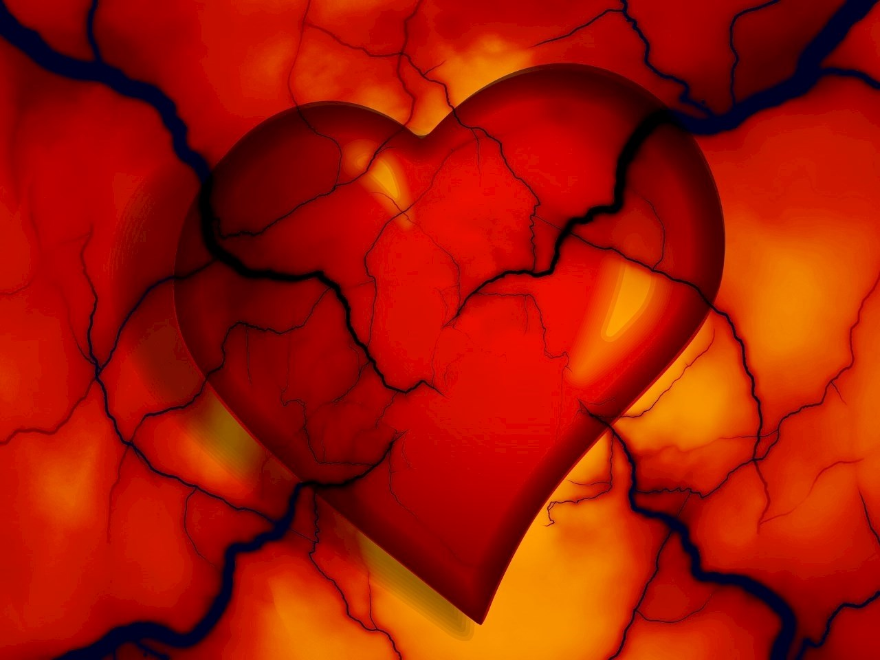Artistic illustration of a damaged heart