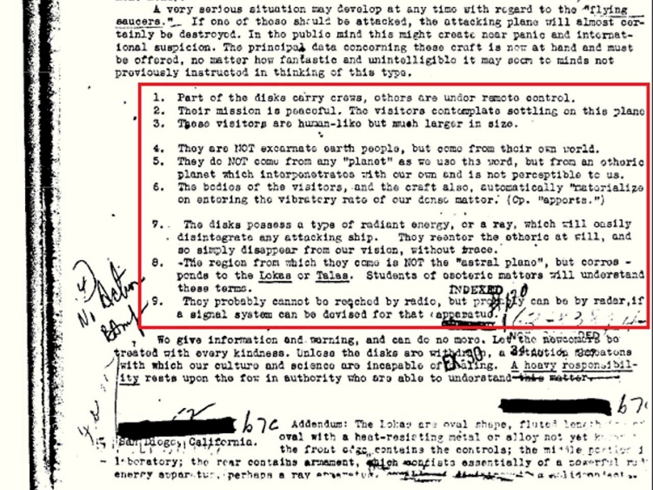 Declassified document from the FBI vault