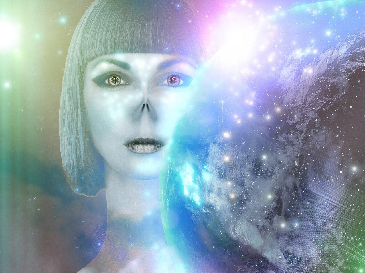 Artistic illustration of an alien woman