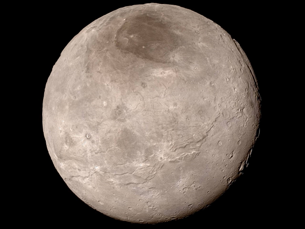 Charon, taken by New Horizons late on 13 July 2015
