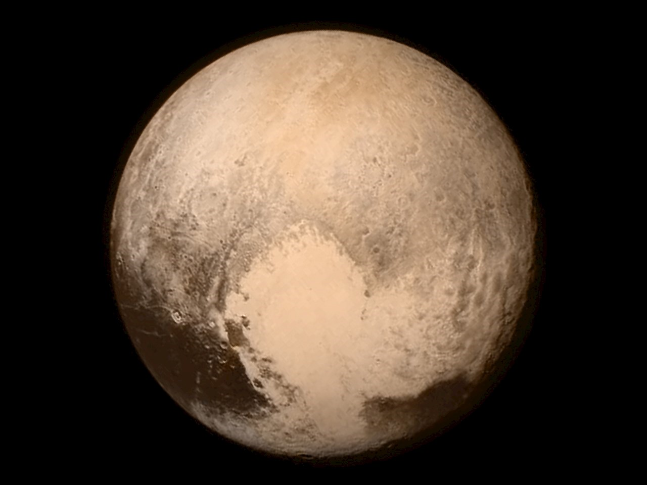 "Pluto's ""encounter hemisphere"" viewed by New Horizons on July 13, 2015"