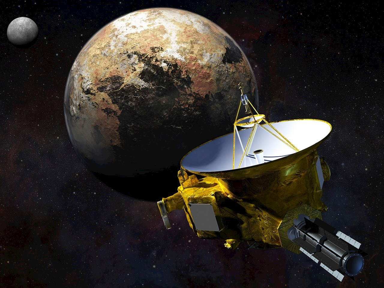 Illustration of New Horizons' flyover of the Pluto-Charon system