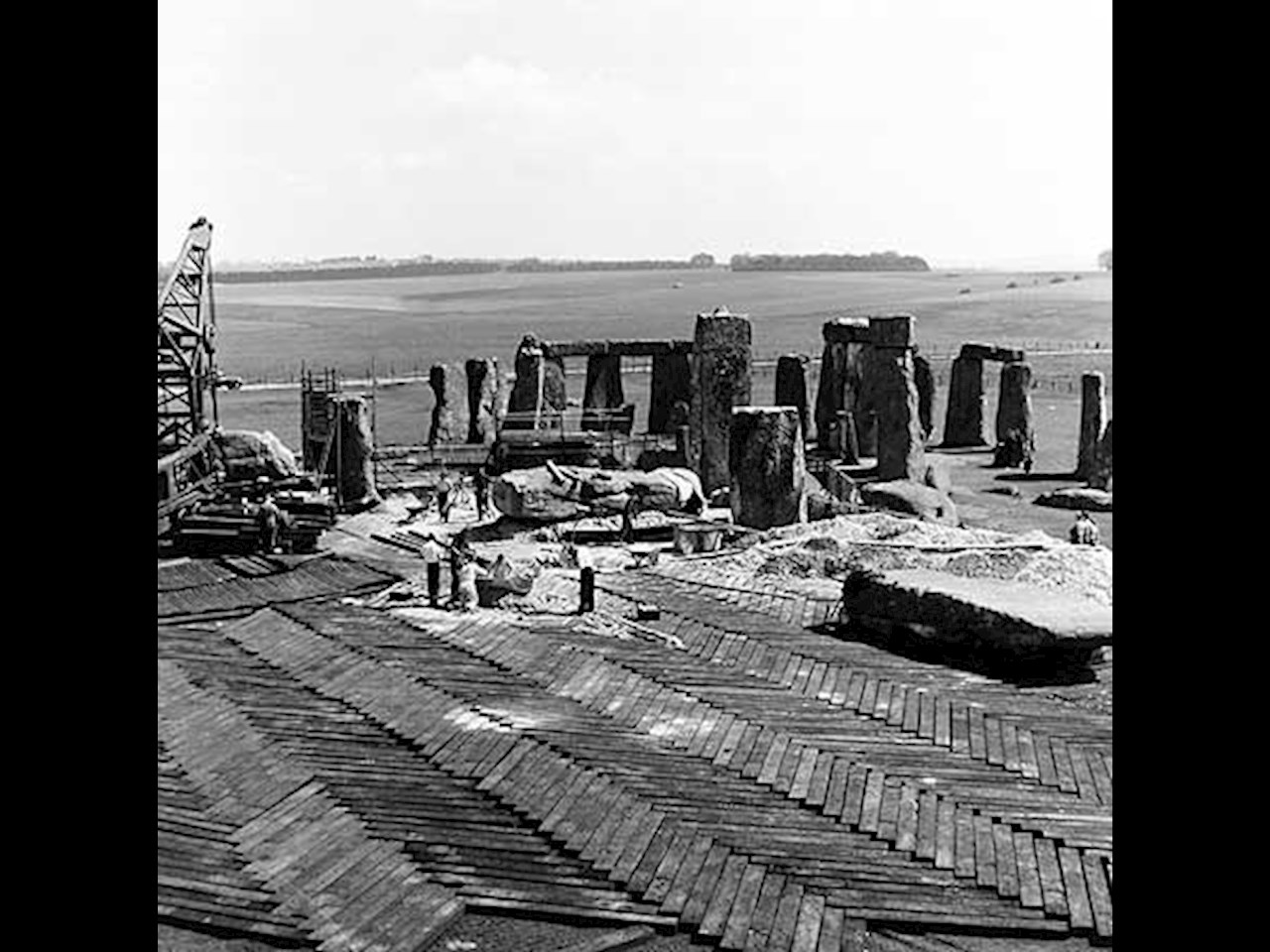 Stonehenge construction in 1954