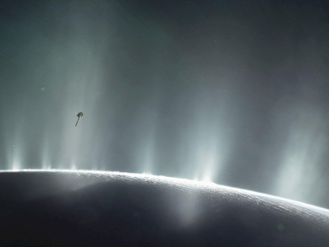 Illustration shows Cassini diving through the Enceladus plume in 2015