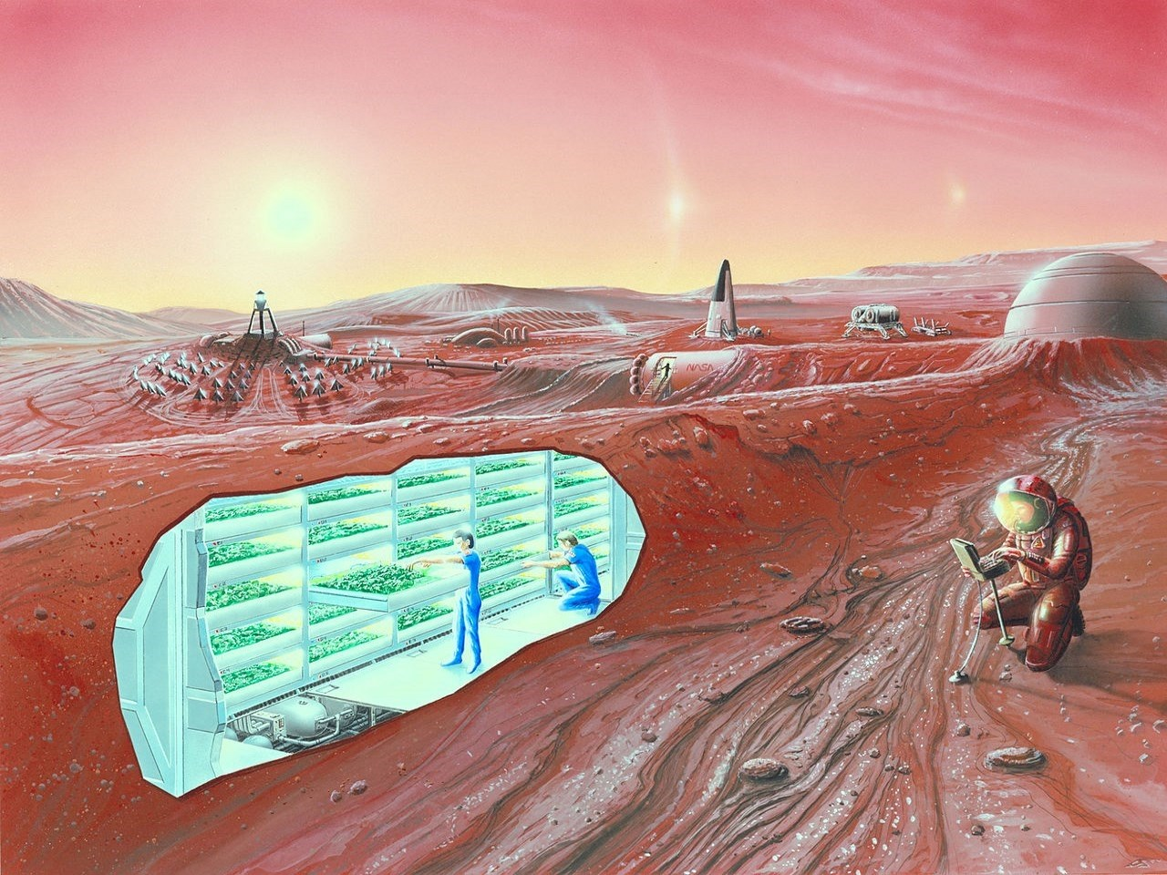 An artist's conception of a human Mars base