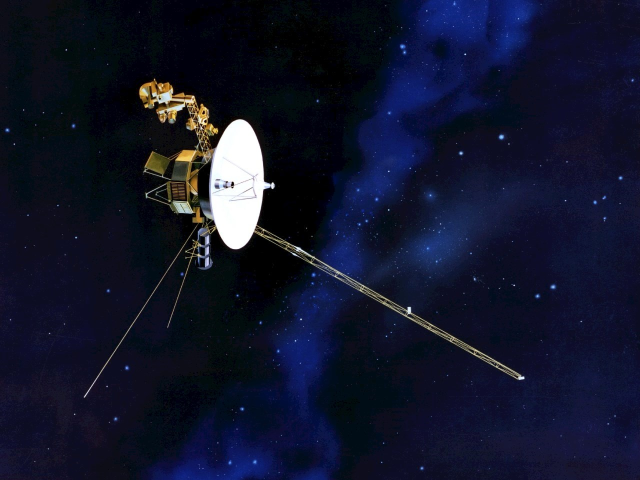 An artist concept depicting one of NASA's twin Voyager spacecraft