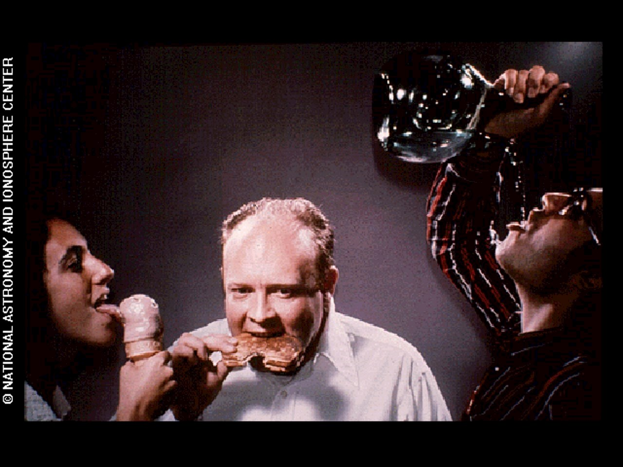 This image depicts humans drinking, licking and eating as modes of feeding