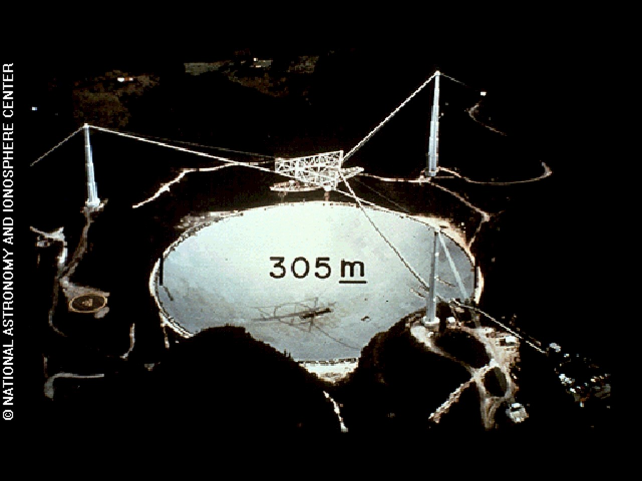 This is a photograph of the Arecibo observatory marked with an indication of scale