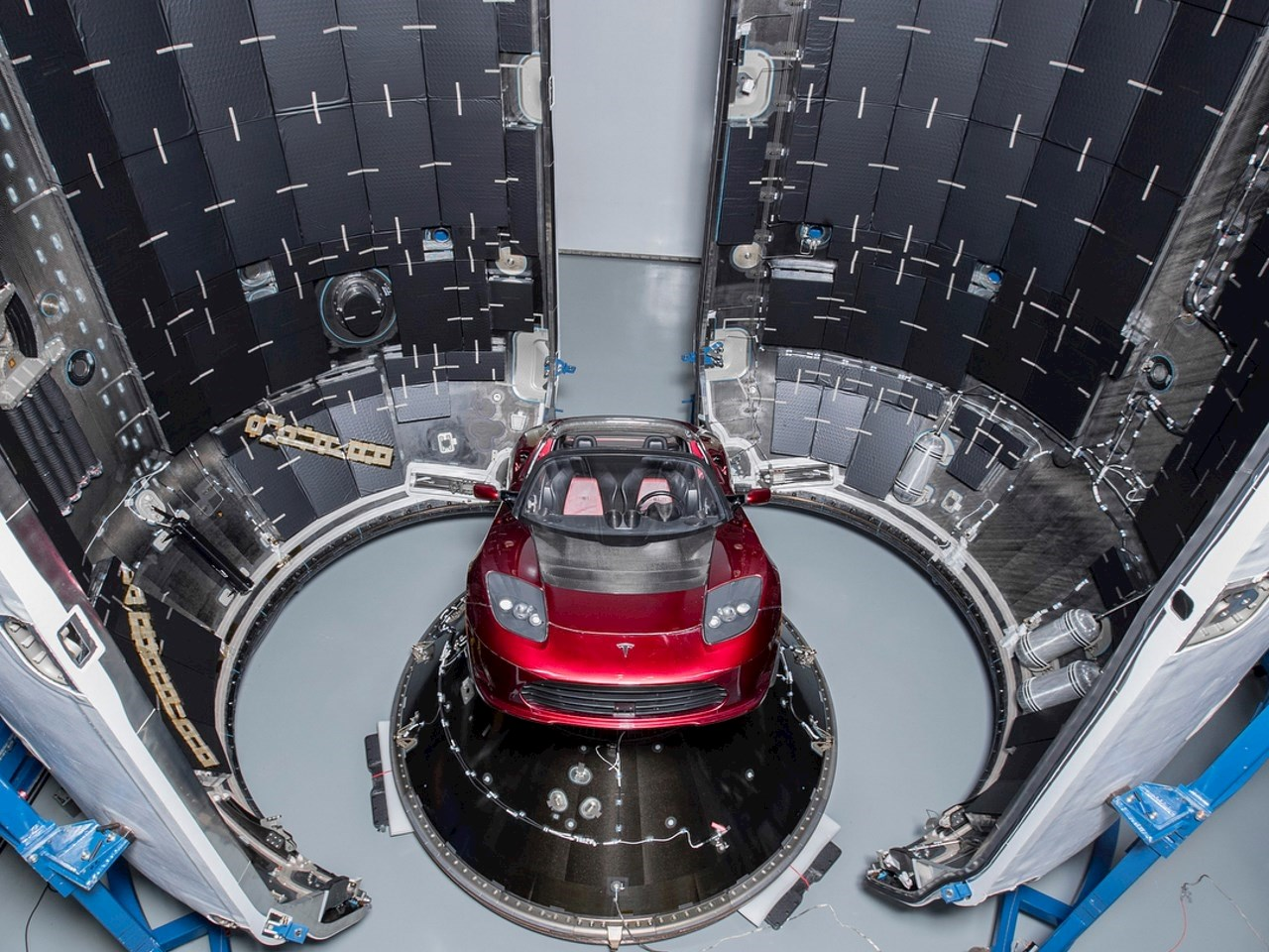 The Tesla roadster inside the payload of the Falcon Heavy
